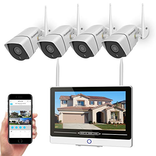Security Camera System Wireless with Monitor,Firstrend 1080P 8CH Wireless Security System Outdoor Indoor with 4PCS 1080P WiFi IP Cameras 12 Inch Monitor Night Vision Motion Detection No Hard Drive