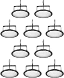 Viugreum 10 Pack 200W UFO LED High Bay Lights, 20000LM 6000K-6500K Daylight White Ultra Thin LED Warehouse Lighting, IP65 Waterproof Commercial Bay Lighting Shop Garage Light
