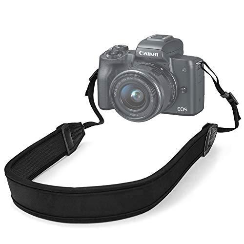 Hukado Camera Strap, Adjustable Anti-Slip Elastic Neoprene Shoulder Neck Strap for Most Canon Nikon Sony DSLR Cameras and Binoculars, Black