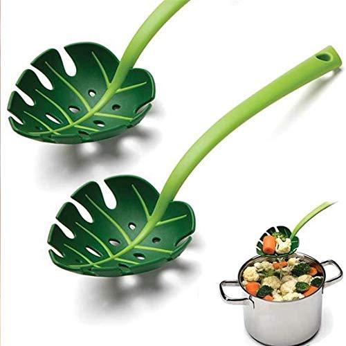 Dlmk Creative Jungle Spoon Leaf Colander Set Of 2 Plastic Scoop Strainer Sifter Skimmer Food Strainers Set With Comfortable Non Slip Handles Kitchen Utensil For Pasta Noodle Cooking