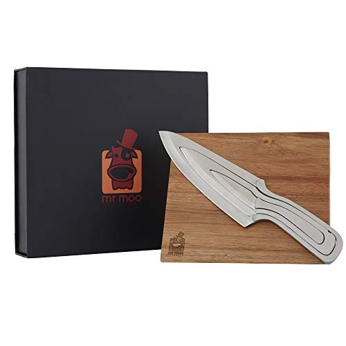 Kitchen knife set, Mr Moos 3 piece unique nested 3 in 1 design knife set with magnetic acacia wooden holder.