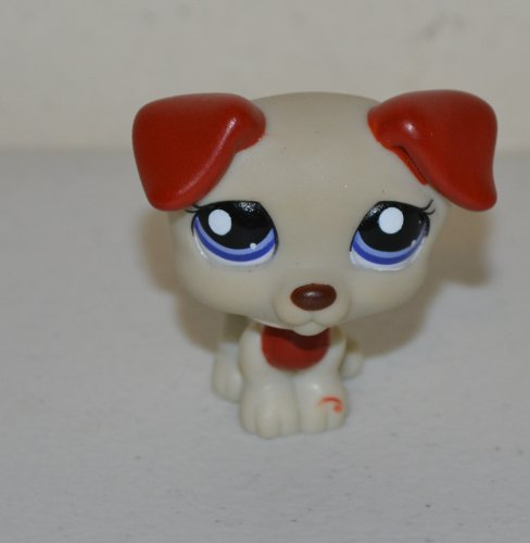 Jack Russell Terrier #1743 (Grey and Red with Purple Eyes) - Littlest Pet Shop (Retired) Collector Toy - LPS Collectible Replacement Single Figure - Loose (Oop Out of Package & Print)