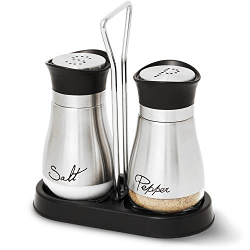 Salt and Pepper Shakers Set - High Grade Stainless Steel with Glass Bottom and 4' Stand - 4' x 6' x 2', 4 oz.