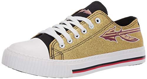 FOCO NCAA Florida State Seminoles Womens Glitter Low Top Canvas Shoesglitter Low Top Canvas Shoes, Team Color, 8/Large