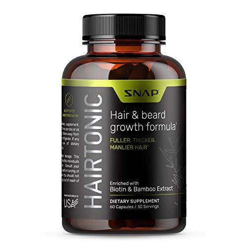 Hair Growth Supplement for Men - Hair, Skin and Nail Vitamin - Beard Growth Stop Hair Loss & Regrow Hair with Biotin, Keratin, Bamboo & More! - 60 Capsules
