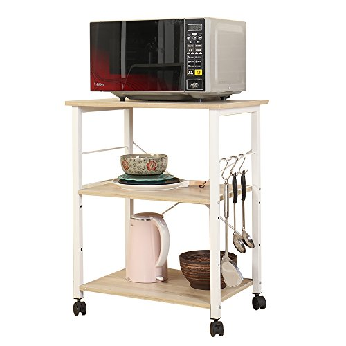 DlandHome Microwave Cart Stand 23.6 inches, 3-Tier Kitchen Baker's Rack Utility Storage Shelf Microwave Stand for Kitchen Organizer Workstation Shelf, W4-Maple