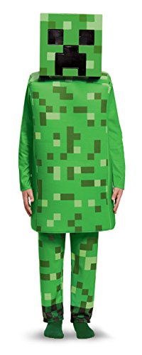 Creeper Deluxe Minecraft Costume, Green, Large (10-12)