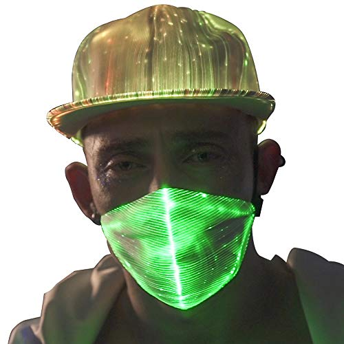 7 Colors Led Flashing Light Up Rave Dust Mask USB Rechargeable Luminous Fiber Optic Glowing Party Mask for EDM EDC Men Women Christmas New Year Festival