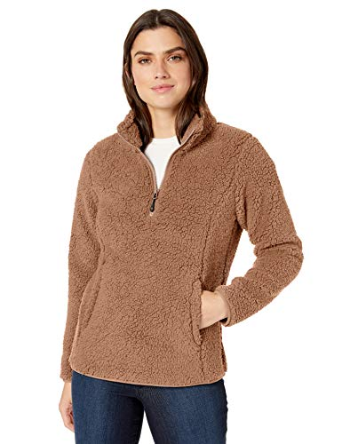 Amazon Essentials Women's Polar Fleece Lined Sherpa Quarter-Zip Jacket, Tan, Large