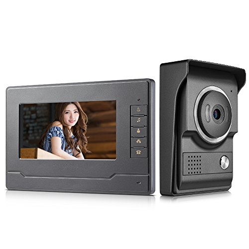 AMOCAM Video Intercom System, Wired 7 Inches Monitor Video doorphone Doorbell System,Video Door Phone HD Camera Kits Support Unlock, Monitoring, Dual-Way Intercom for Villa House Office Apartment