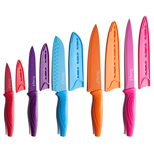 MICHELANGELO Kitchen Knife Set 10 Piece, High Carbon Stainless Steel Kitchen Knives Set, Knife Set for kitchen, Rainbow Knife Set, Colorful Knife Set- 5 Knives & 5 Knife Sheath Covers