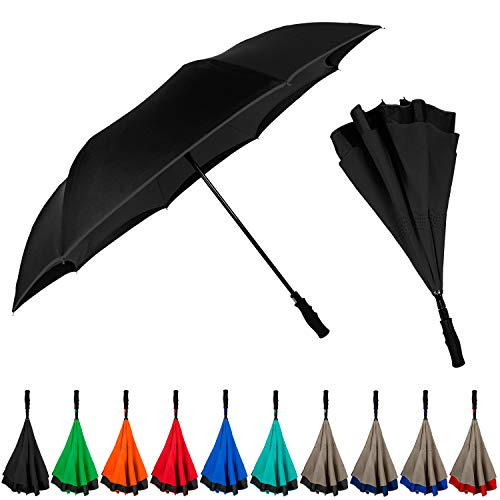 StrombergBrand Inversa Umbrella (Reversible Umbrella), Double Layer Inverted Umbrella For Women and Men, Large Umbrella Windproof - Self Standing Umbrella Reverse Close Black Umbrella