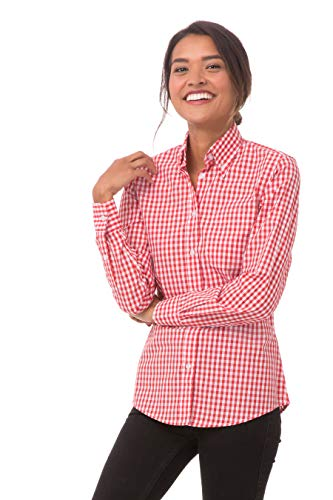 Chef Works Women's X-Large Gingham Dress Shirt, Red & White Check