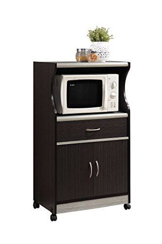 Hodedah Microwave Cart with One Drawer, Two Doors, and Shelf for Storage, Chocolate