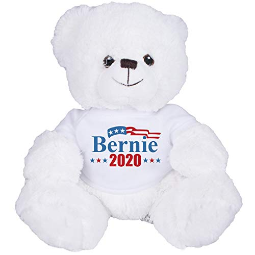 TATY Kids Bernie 2020 Election Bear Plush: 8 Inch White Teddy Bear Stuffed Animal Democratic Gift White Shirt