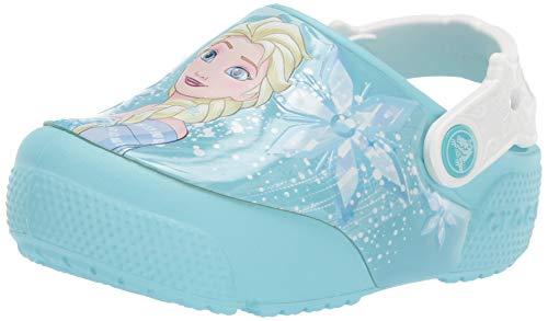 Crocs Kids' Fun Lab Frozen Elsa Light-Up Clog, Ice Blue, 4 M US Toddler