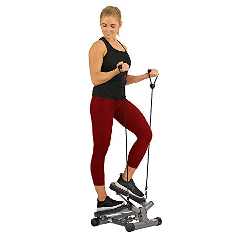 Sunny Health & Fitness Mini Stepper Stair Stepper Exercise Equipment with Resistance Bands and Twisting Action - NO. 068,Silver
