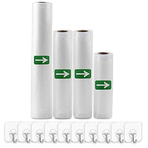 Vacuum Sealer Bags Rolls (Fits Inside Machine) - 4 Pack (6' x 16.4' /8' x 16.4'/11' x 16.4') Heavy Duty Vacuum Food Storage Saver for Foodsaver and Other Savers, Work with FoodSaver Vaccum Sealer and Sous Vide Cooking, BPA Free