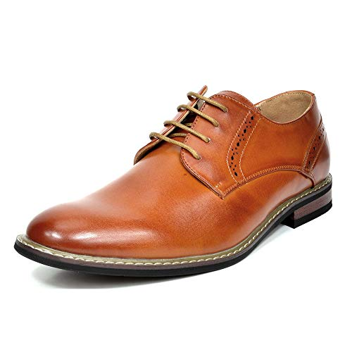 Bruno Marc Men's Prince-16 Brown Leather Lined Dress Oxfords Shoes Size 10.5 M US