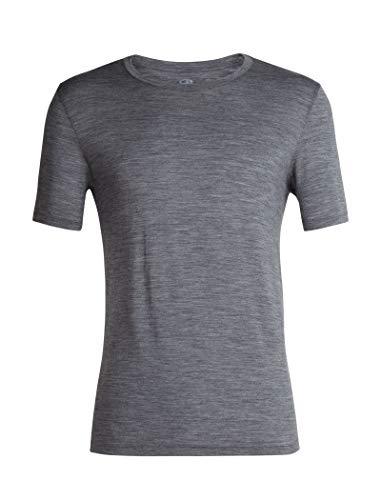 Icebreaker Merino Men's Tech Lite Short Sleeve Crew Neck Shirt, Gritstone Heather, Medium