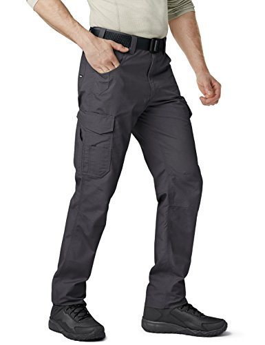 CQR Men's Ripstop Work Pants, Water Repellent Tactical Pants, Outdoor Utility Operator EDC Straight/Cargo Pants, Work Cargo(twp302) - Charcoal, 32W x 32L