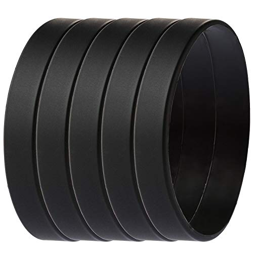 Green House-5pcs Blank Wristband Black Fashion Sports Silicone Wristband Bracelets