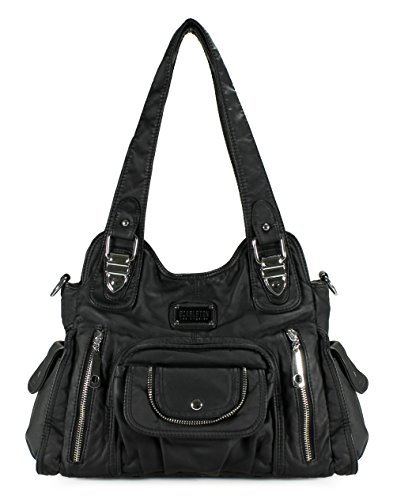 Scarleton Satchel Handbag for Women, Ultra Soft Washed Vegan Leather Crossbody Bag, Shoulder Bag, Tote Purse, Black, H163501