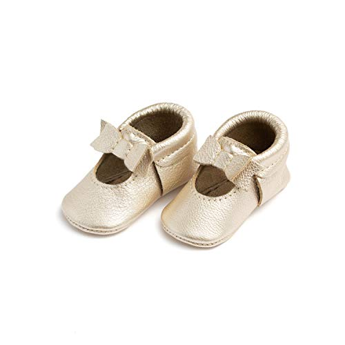Freshly Picked - Rubber Mini Sole Leather Ballet Flat Bow Toddler Girl Moccasins - Size 6 Platinum Gold