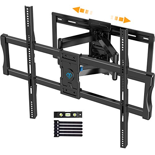 Full Motion TV Wall Mount for 37-95 Inch Flat/Curved TVs with Max VESA 800x400mm Sliding Articulating TV Mount for TV Centering Swivel Rotate Extend Tilting TV Bracket Fits 16' 18' 24' Studs
