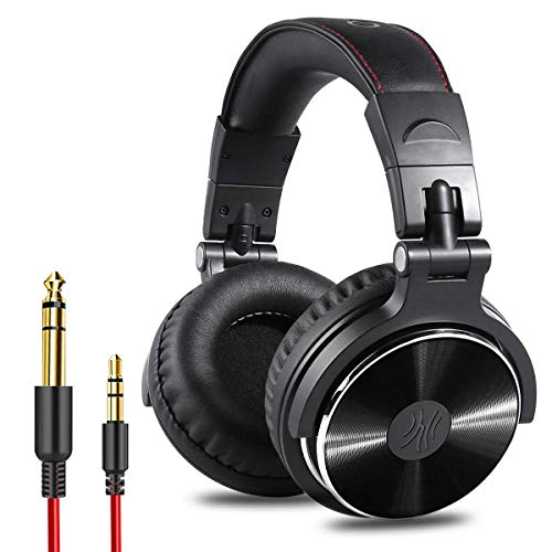 OneOdio Adapter-Free Closed Back Over Ear DJ Stereo Monitor Headphones, Professional Studio Monitor & Mixing, Telescopic Arms with Scale, Newest 50mm Neodymium Drivers - Black