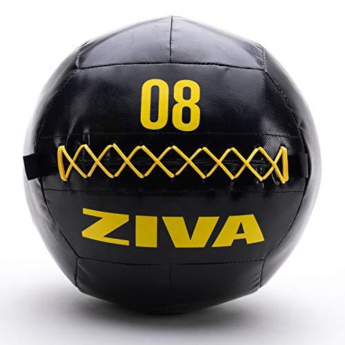ZIVA Commercial-Grade Soft Wall Ball - Medicine Slam Ball for Slamming, Bouncing, Throwing - Exercise Ball for Crossfit, Plyometrics, Cross Training - 8 lbs, 13.7' Diameter