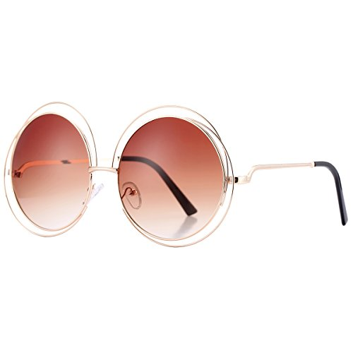 Pro Acme Women's Double Circle Metal Wire Frame Oversized Round Sunglasses (Brown)