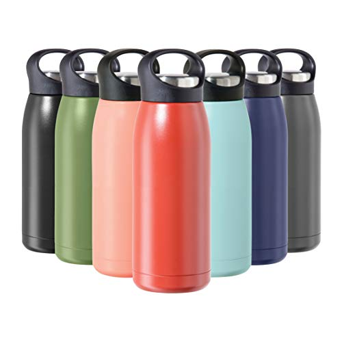 OGGI Freestyle Stainless Steel Insulated Water Bottle- Double Wall Vacuum Insulated, Travel Thermos, 17oz(500ml), Brick