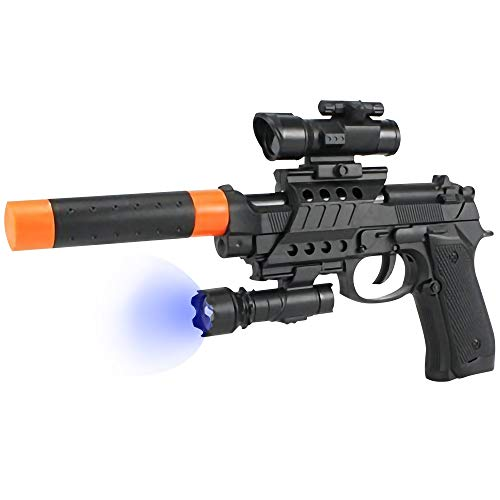ArtCreativity M9 Super Pistol Toy Gun with Silencer, Laser LED Light and Scope - 13 Inch Cool Toy Gun for Boys and Girls - Barrel Slides and Cocks - Best Birthday Gift for Kids