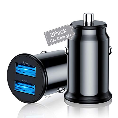 2Pack USB Car Charger Adapter, Mini 4.8A Dual Port USB Car Charger Adapter Cigarette Lighter for 11 Pro/XR/X/XS/8/7/6s, iPad Pro/Mini/Air, Samsung S20/10/9/8/7 Note and More