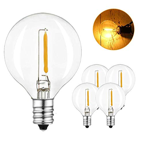 SUNTHIN 5 Pack LED G40 Replacement Bulbs for Globe String Lights, Warm White 2700K 1W LED Bulb 6 Watt Incandescent Bulbs Equivalent with E12 Sockets
