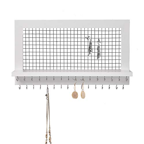 SANY DAYO HOME Wall Mounted Jewelry Organizer Rustic Wood Hanging Jewelry Holder with 32 Necklace Holders, Shelf, Earring Metal Mesh for Girl and Women (17 x 10 x 4 in, White)