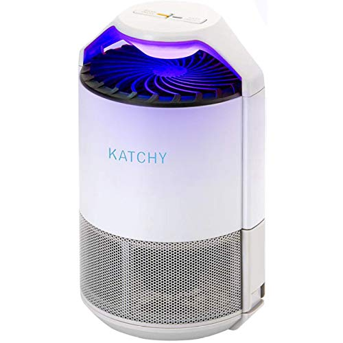 KATCHY Indoor Insect Trap: Bug, Fruit Fly, Gnat, Mosquito Killer - UV Light, Fan, Sticky Glue Boards Trap Flying Bugs - No Zapper - (White)