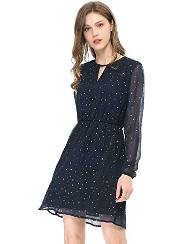 Allegra K Women's Choker V Neck Vintage Flared Gilding Metallic Shiny Star A-Line Dress Dark Blue S (US 6)