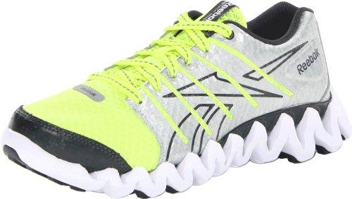 Reebok Zigtech Shark Running Shoe (Little Kid/Big Kid),Neon Yellow/Silver/Gravel/White,11 M US Little Kid
