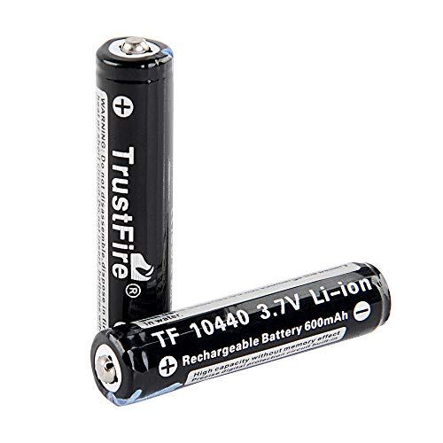 TrustFire 10440 Button Top Rechargeable Batteries 3.7V 600mAh for Flashlight 【4pcs Included】