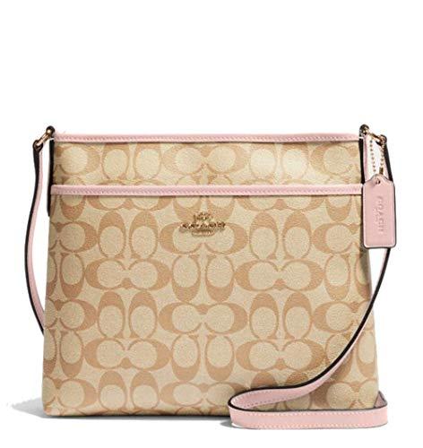 Coach Signature Jacquard Strip Zip File Crossbody Bag (Light Khaki Blossom)
