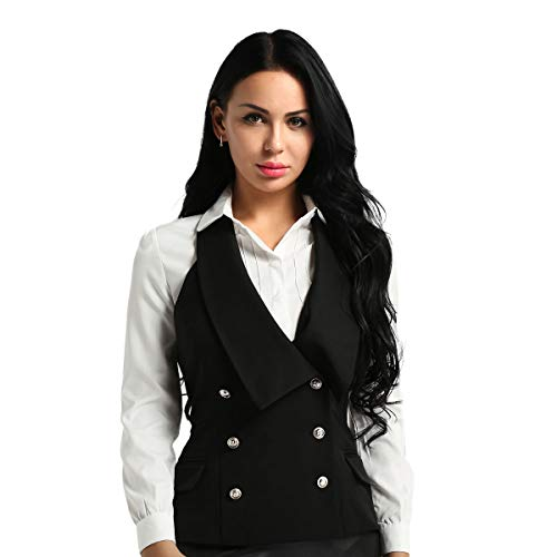 YOOJOO Women's V-Neck Slim Fit Dressy Casual Versatile Racerback Vest Tuxedo Suit Waistcoat Black Halter Neck X-Large