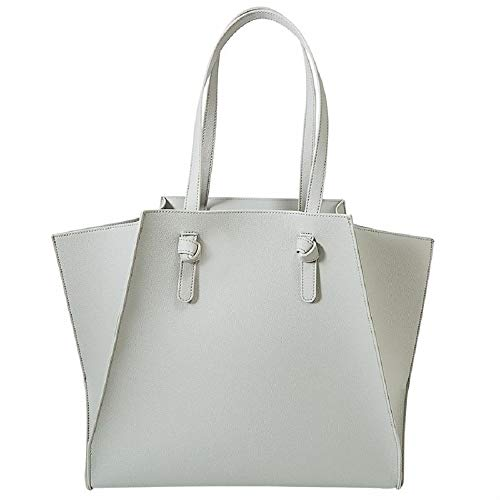 Mud Pie Shaya Pebbled Faux Leather Tote Shoulder Bag Gray