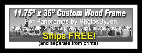 PHOTOSBYJON 11.75 Inch X 36 Inch Picture/Poster Frame, Wood Black Satin, 1.2-inches Wide, Customized for Archival Quality Panorama Prints 11-3/4 x 36
