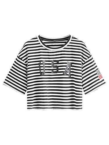 SweatyRocks Women's Letter Print Crop Tops Summer Short Sleeve T-Shirt Striped S