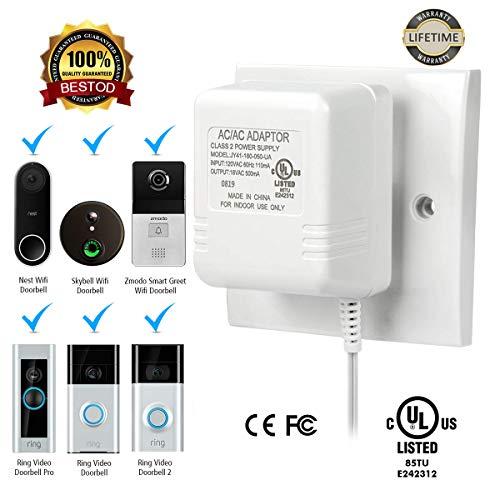 Doorbell Transformer 18V 500mA Power 500cm Cable Adapter for Ring Video Doorbell, Ring Video Doorbell Pro, Ring Video Doorbell 2, Transformer Compatible With Nest Hello Doorbell, Zmodo Smart Doorbell