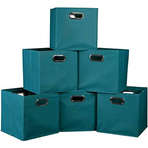 Better Homes and Gardens.. Bookshelf Square Storage Cabinet 4-Cube Organizer (Weathered) (White, 4-Cube) (Teal, Set of 6 Storage Bins)