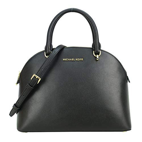 Michael Kors Emmy Large Dome Saffiano Leather Satchel Crossbody Bag Purse (Black Soft Leather)