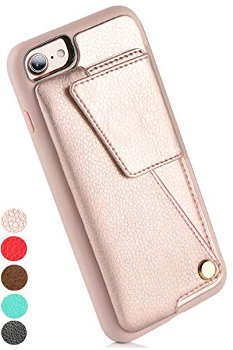 iPhone 8 Wallet Case, iPhone SE2 Wallet Case, ZVEdeng iPhone 7 Case Wallet with Card Holder Rotational Flip Case Slim Handbag Purse Protective Cover for Apple iPhone SE2/7/8 4.7inch-Rose Gold